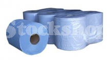 6 X BLUE PAPER ROLL 2 PLY - 400 SHEETS PER ROLL