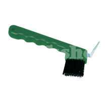 HOOF PICK BRUSH GREEN